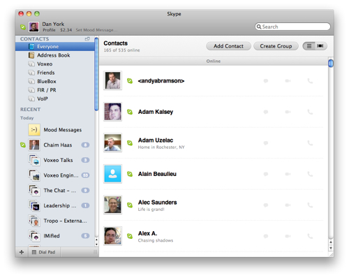 Skype 50 beta for mac os x a first look with screenshots gone is the drawer paradigm weve been used to everything is now in one big window in fact there seems to be no way i could find to open up a ccuart Choice Image