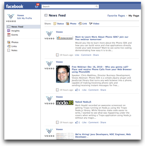 Voxeo Facebook page