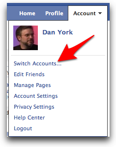 Switch accounts in Facebook
