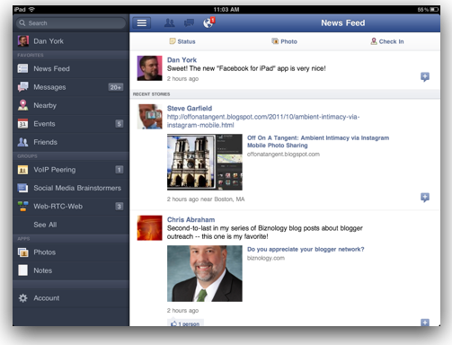 Facebook's iPad App Now Available With Gestures, Cool Places Display