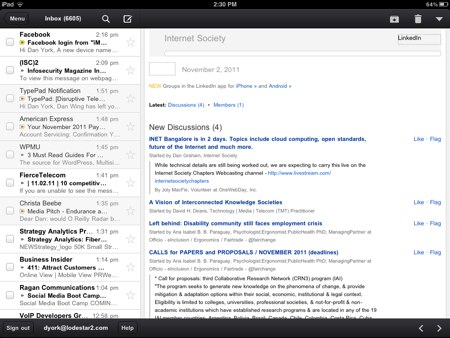Gmail ipad inbox