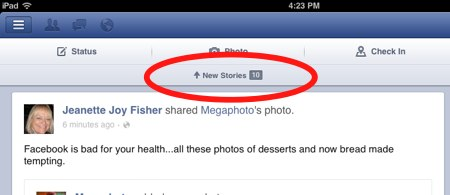 Facebook ipad new stories