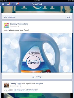 Laundry ad in Facebook