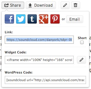 Soundcloud sharing