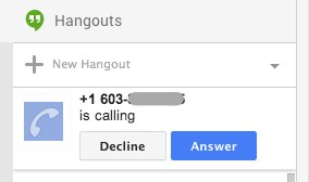 Googleplus incoming call