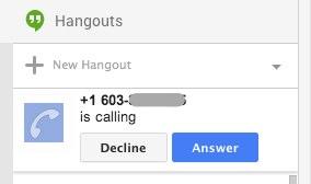 Googleplus incoming call