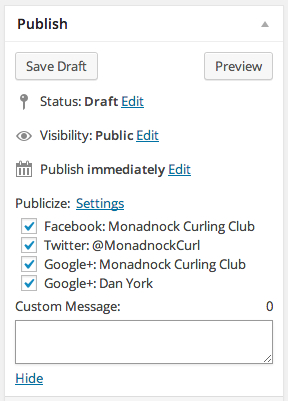 Add New Post Monadnock Curling Club WordPress