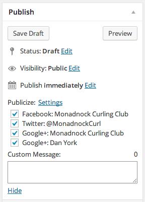 Add New Post Monadnock Curling Club WordPress