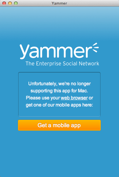 Yammer desktop dead