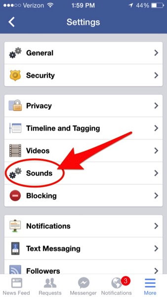 Facebook ios sounds setting