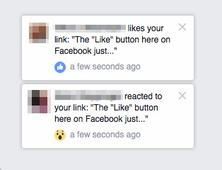 FB reactions notifications