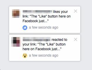 FB reactions notifications
