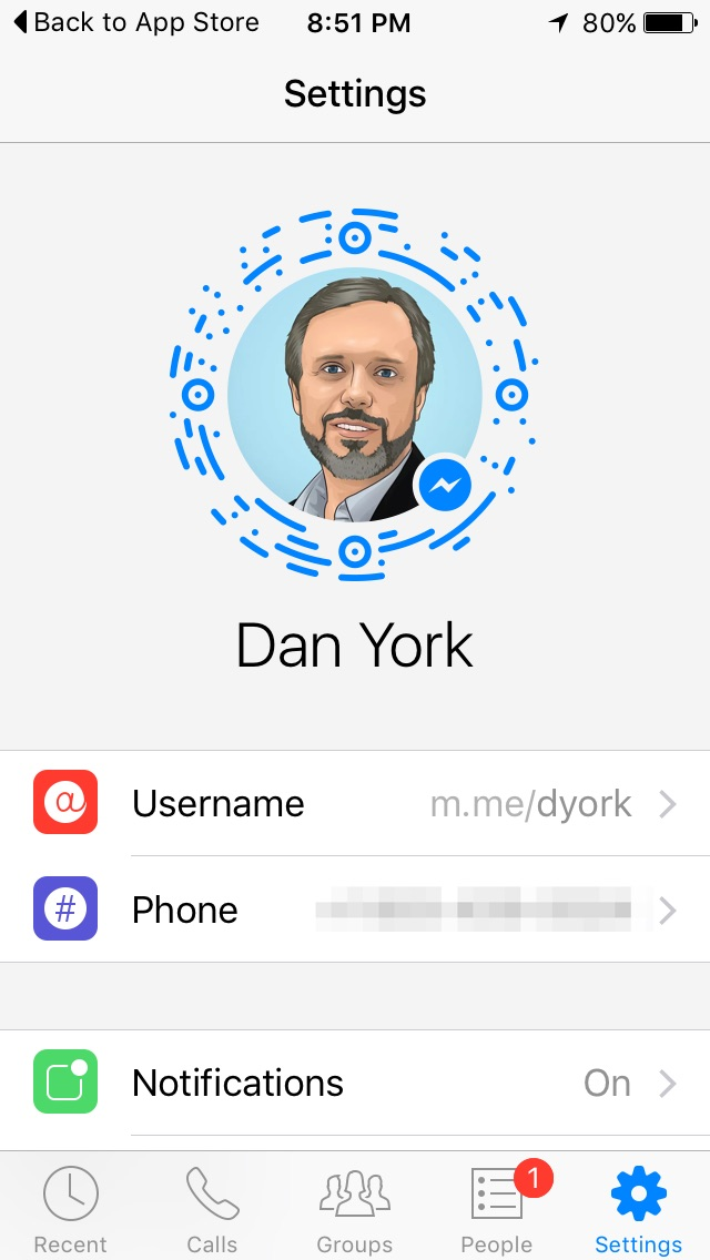 Facebook messenger code settings