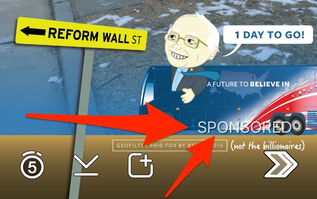 Bernie snapchat sponsored