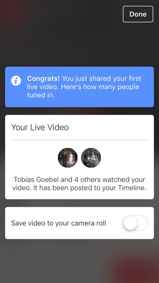 Facebook live video done