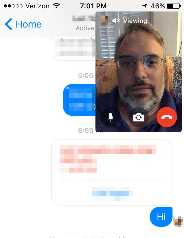 FB Messenger video overlay